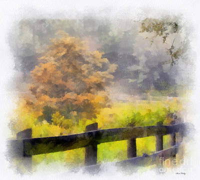 Photograph - Autumn Along The Fence - Digital Watercolor by Kerri Farley
