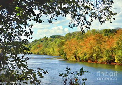 Autumn Along The New River - Bisset Park - Radford Virginia Art Print