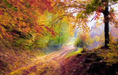 The Trees Mixed Media - Autumn And The Morning Mist by Georgiana Romanovna