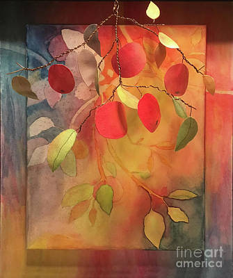 Mixed Media - Autumn Apples 3d by Conni Schaftenaar