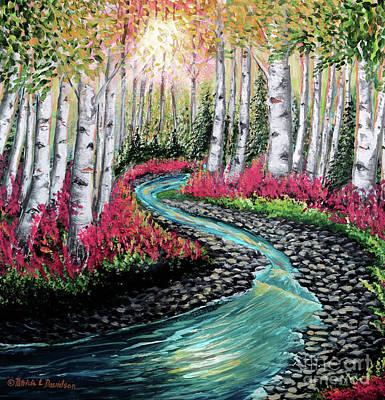 Painting - Autumn Aspen River Sunrise by Patricia L Davidson