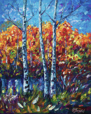 Impressionist Mixed Media - Autumn Aspens by Art OLena