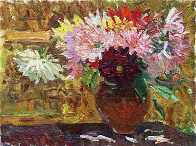 Painting - Autumn Asters by Juliya Zhukova