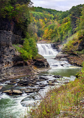 Photograph - Autumn At Letchworth Lower Falls by Karen Jorstad