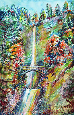 Painting - Autumn At Multnomah Falls by Zaira Dzhaubaeva