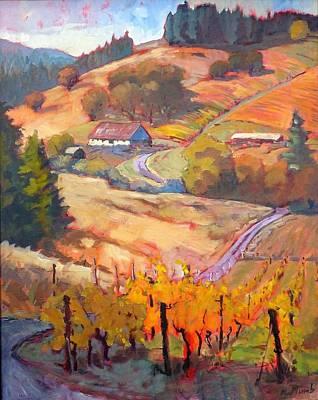 Impressionistic Vineyard Painting - Autumn At Silvan Ridge by Margaret  Plumb