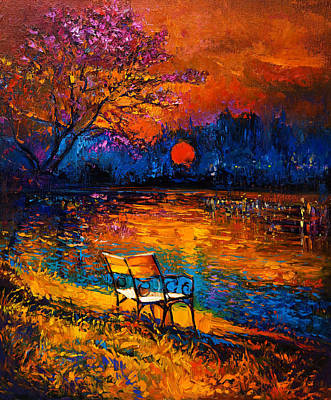 Decorative Benches Drawing - Autumn At Sunset By Ivailo Nikolov by Boyan Dimitrov