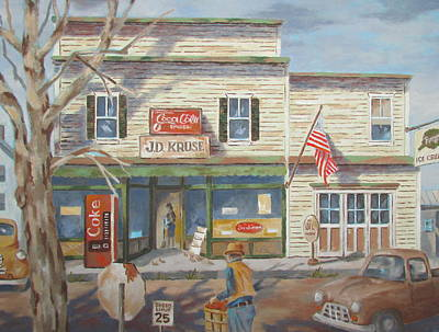 Autumn At The Corner Country Store Art Print