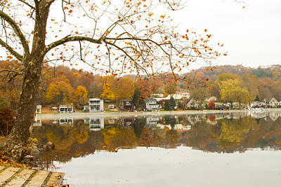 Boats In Reflecting Water Photograph - Autumn At The Housatonic by Karol Livote