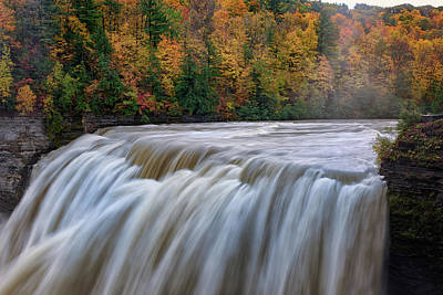 Photograph - Autumn At The Middle Falls  by Rick Berk