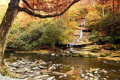 Art Print featuring the photograph Autumn At Tom Branch Falls  by Bob Decker
