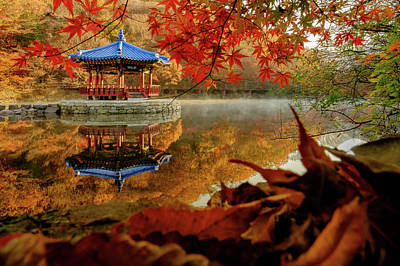 Photograph - Autumn At Uhwajeong Pavillon by Roy Cruz