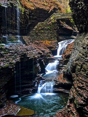 Photograph - Autumn At Watkins Glen Rainbow Falls by Frozen in Time Fine Art Photography