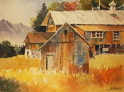 Painting - Autumn Barn And Sheds by Al Brown
