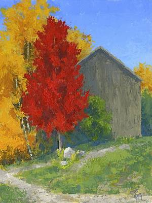Agriculture Painting - Autumn Barn by David King
