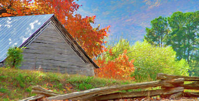 Autumn Barn Digital Watercolor Art Print