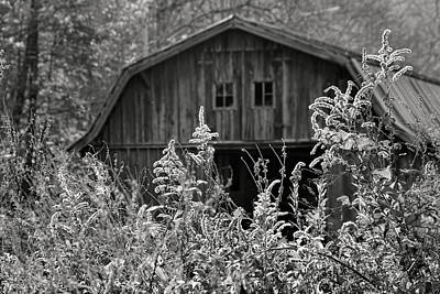 Photograph - Autumn Barn In B - W By H H Photography Of Florida by HH Photography of Florida