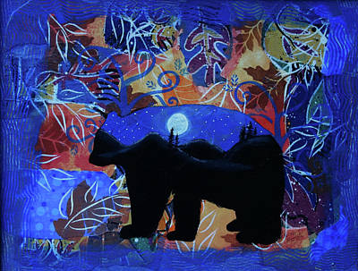 Mixed Media - Autumn Bear Silhoutte by Kenny Francis
