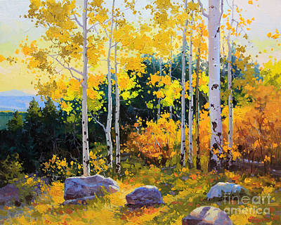 Aspen Trees Painting - Autumn Beauty Of Sangre De Cristo Mountain by Gary Kim