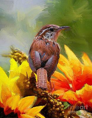 Wren Digital Art - Autumn Beauty by Tina  LeCour