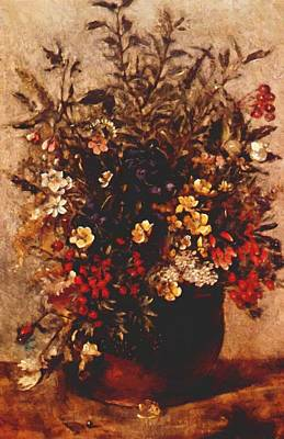 Painting - Autumn Berries And Flowers In Brown Pot by Constable John