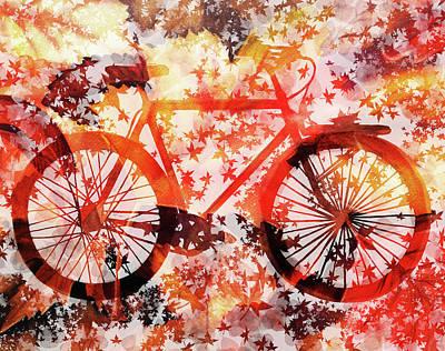 Sports Paintings - Autumn Bicycle by Irina Sztukowski