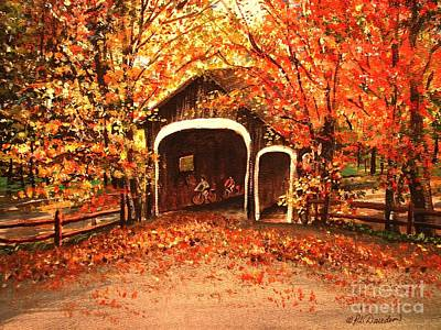 Art Print featuring the painting Autumn Bike Ride by Patricia L Davidson