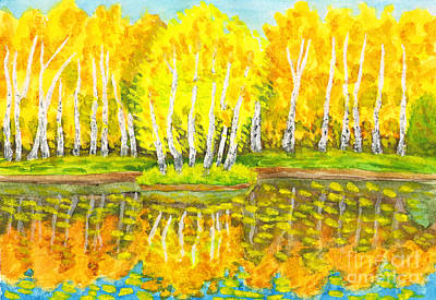 Painting - Autumn, Birch Forest And Little Island With Birches, Painting by Irina Afonskaya