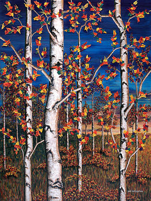 Painting - Autumn Birch Forest by Lori Sutherland