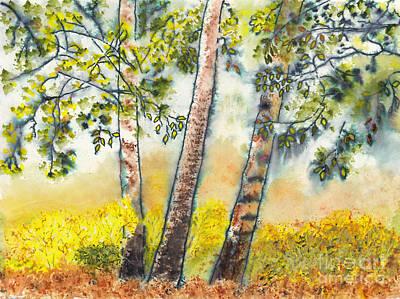 Mixed Media - Autumn Birch Trees by Conni Schaftenaar