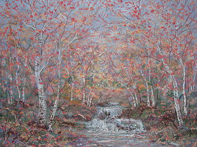 Autumn Birch Trees. Art Print