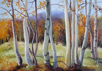 Painting - Autumn Birches by Elena Oleniuc