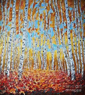 Painting - Autumn Birches Forest by AmaS Art