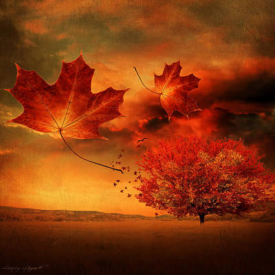 Triptych Photograph - Autumn Blaze by Lourry Legarde