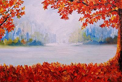 Painting - Autumn Blaze Maple Trees by Misuk Jenkins