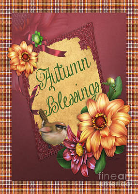 Rust Red Digital Art - Autumn Blessings-jp3127-rec by Jean Plout