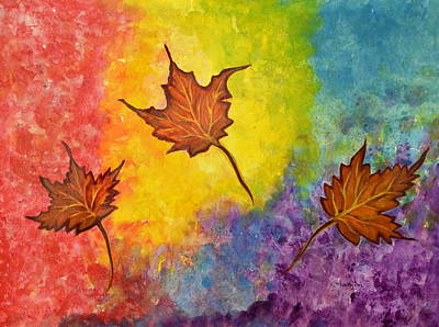 Painting - Autumn Bliss Colorful Abstract Painting by Manjiri Kanvinde