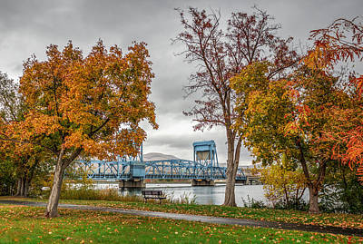 Autumn Blue Bridge Art Print by Brad Stinson