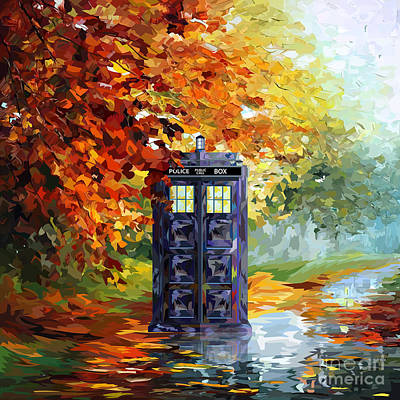 Autumn Blue Phone Box Art Print