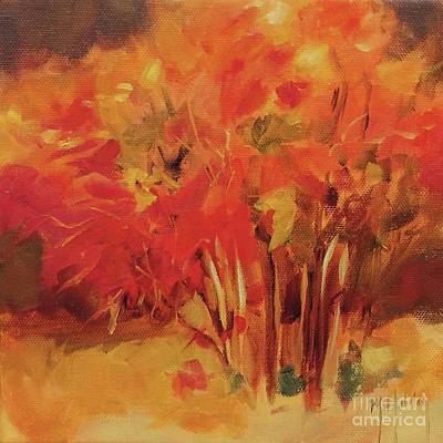 New Jersey Pine Barrens Painting - Autumn Blueberry Bush by Mary Hubley