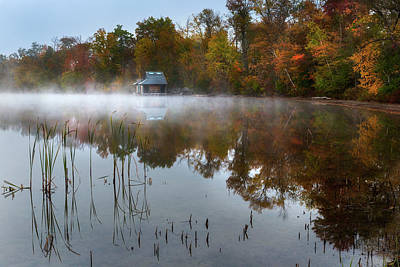 Photograph - Autumn Boathouse by Bill Wakeley