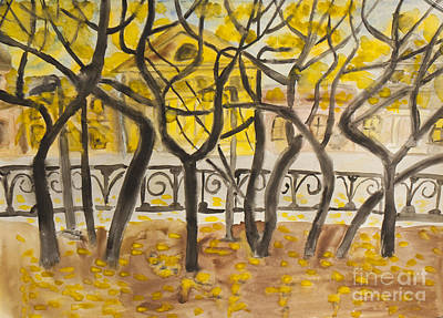 Painting - Autumn Boulevard, Painting by Irina Afonskaya