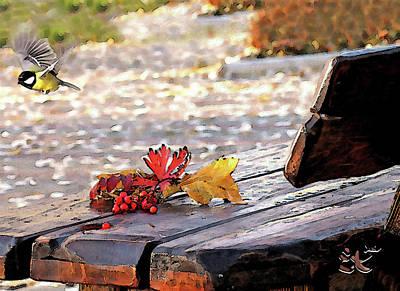 Blueberry Mixed Media - Autumn Bouquet On A Bench by Ekaterina Torganskaia