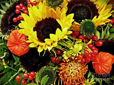 Sunflowers Royalty-Free and Rights-Managed Images - Autumn Bouquet by Sarah Loft