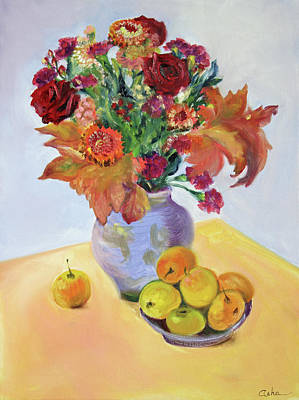 Painting - Autumn Bouquet With Apples by Asha Carolyn Young