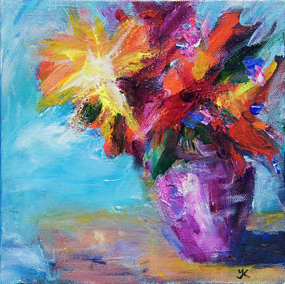Colorful Flowers  Art Print by Yulia Kazansky