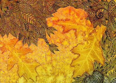 Indian Ink Mixed Media - Autumn Breeze I by Amrita Dutia