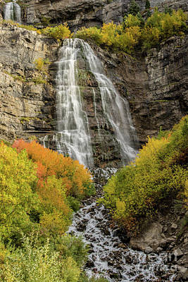 Photograph - Autumn - Bridal Veil Falls - Provo Canyon - Utah by Gary Whitton