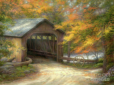 Covered Bridge Painting - Autumn Bridge by Chuck Pinson