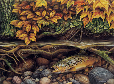 Painting - Autumn Brown Trout by JQ Licensing
